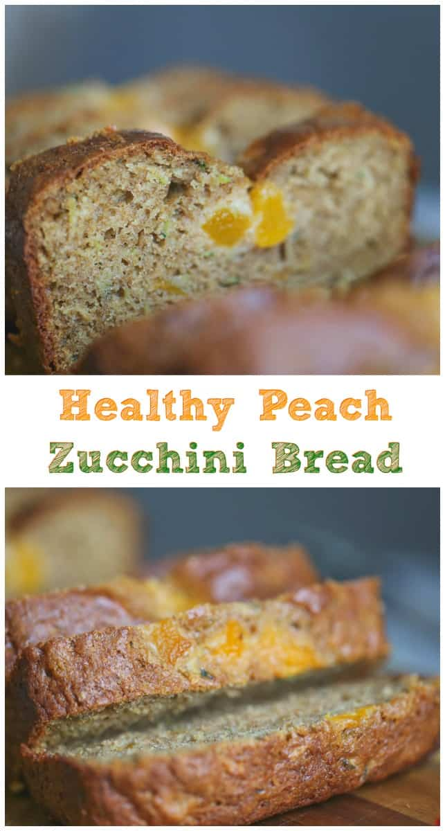 Healthy Peach Zucchini Bread - ThisHealthy Peach Zucchini Bread is perfect for summer-time snacking. So good, so moist and so full of yummy, healthy ingredients that taste wonderful in this delicious quick bread. #peach #zucchini #bread #quick bread #summer recipes #healthy