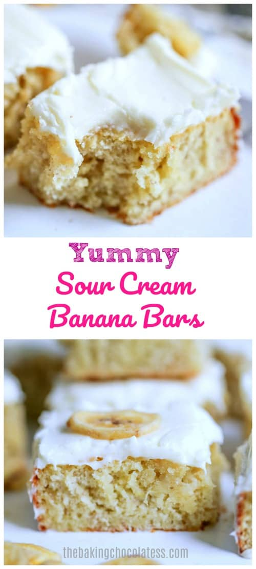 These Yummy Sour Cream Banana Bars are super moist and decadent due to the ripe bananas, eggs and sour cream used to make them. They're slightly tangy, delicious banana bars with a creamy layer of luscious cream cheese frosting on top to make everyone happy!