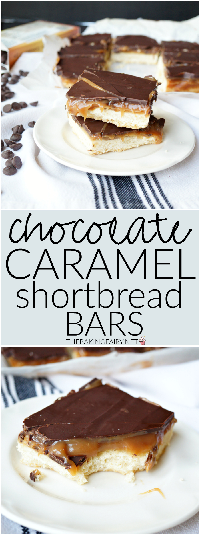 chocolate caramel shortbread bars | The Baking Fairy