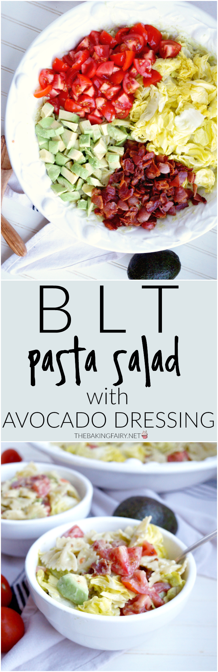 BLT pasta salad with avocado dressing | The Baking Fairy