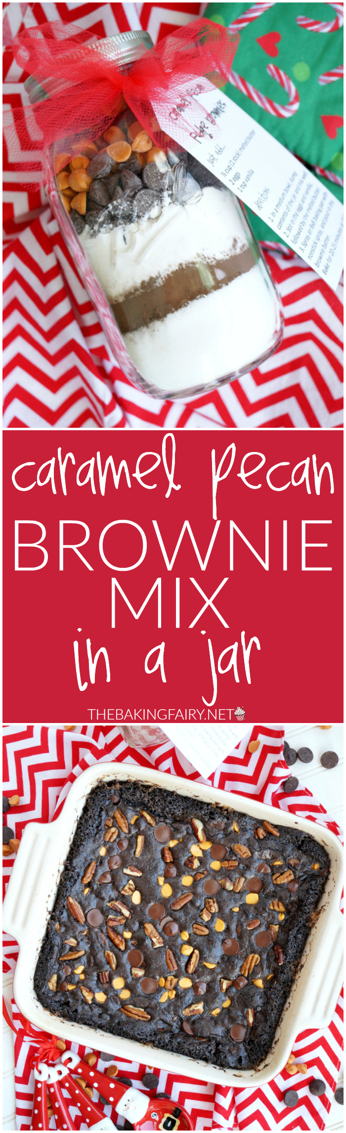 homemade gifts: caramel pecan brownie mix in a jar | The Baking Fairy