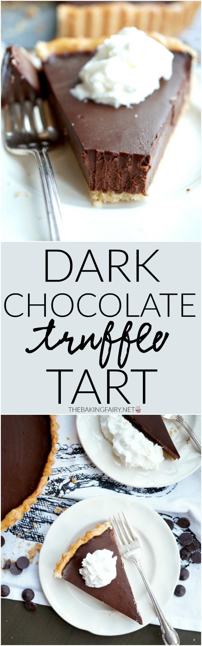 dark chocolate truffle tart | The Baking Fairy
