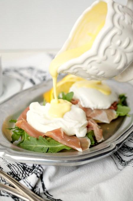 prosciutto arugula eggs benedict | The Baking Fairy