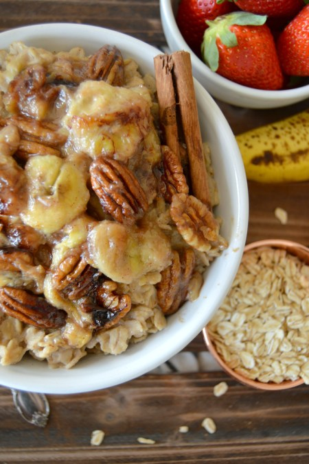 caramelized banana pecan oatmeal | The Baking Fairy