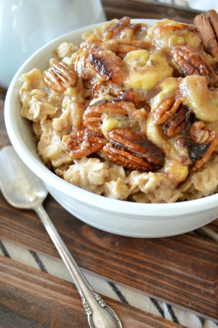caramelized banana pecan oatmeal | The Baking Fairy