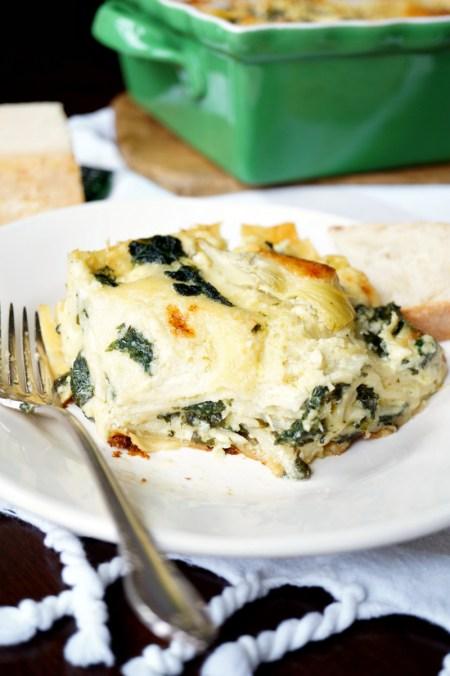 three cheese spinach artichoke lasagna   The Baking Fairy