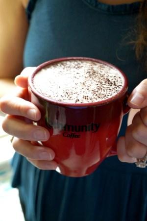 almond milk mocha with Community Coffee   The Baking Fairy
