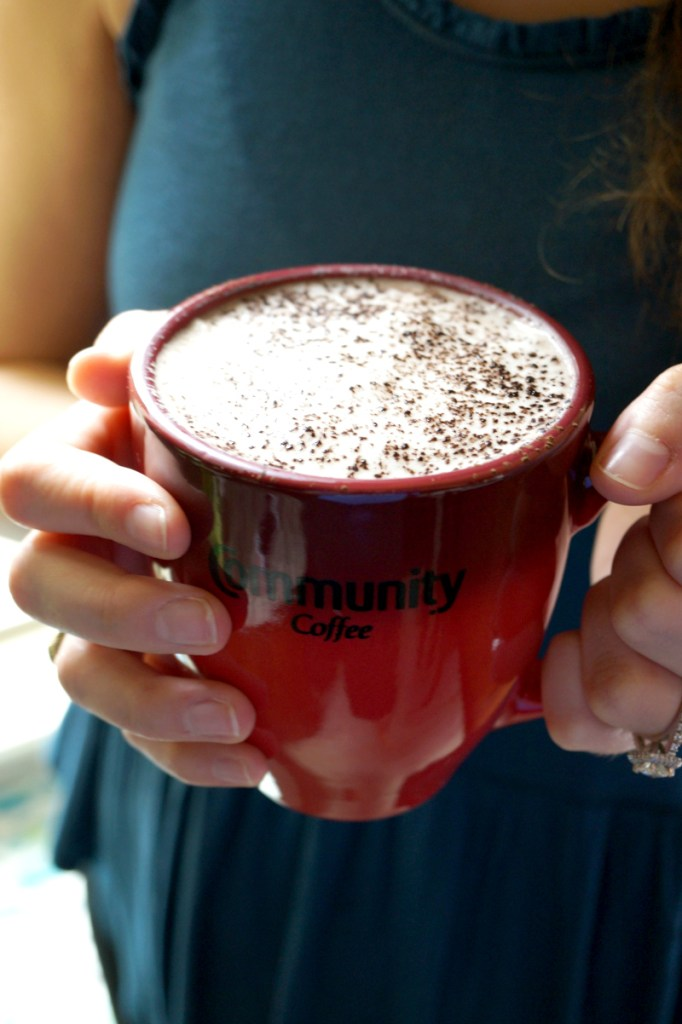 almond milk mocha with Community Coffee
