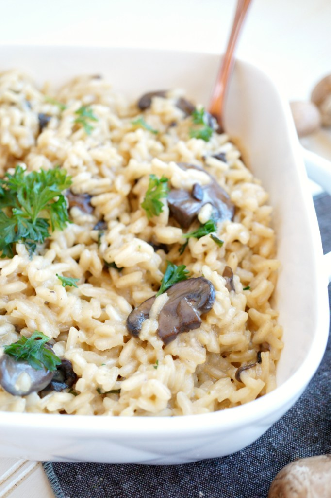creamy parmesan mushroom risotto with Barber Foods