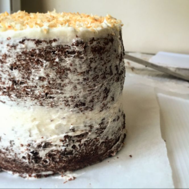 Chocolate cake with Coconut Buttercream header