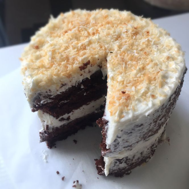 Chocolate Chiffon Cake Coconut Buttercream