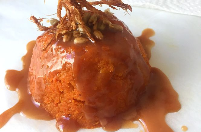 carrot pudding with whiskey caramel sauce