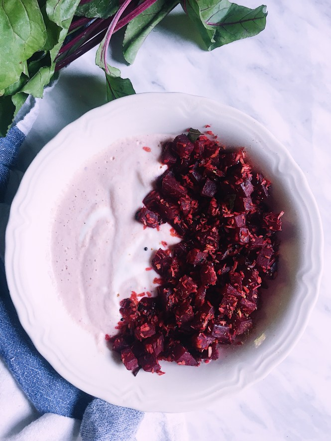 Stir Fried Beetroot Coconut In Spiced Yogurt