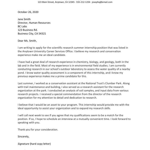 Cover Letter for an Internship Samples and Writing Tips