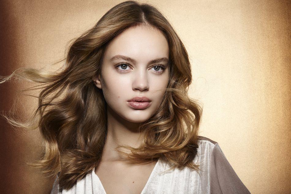 Brunette with windblown hair