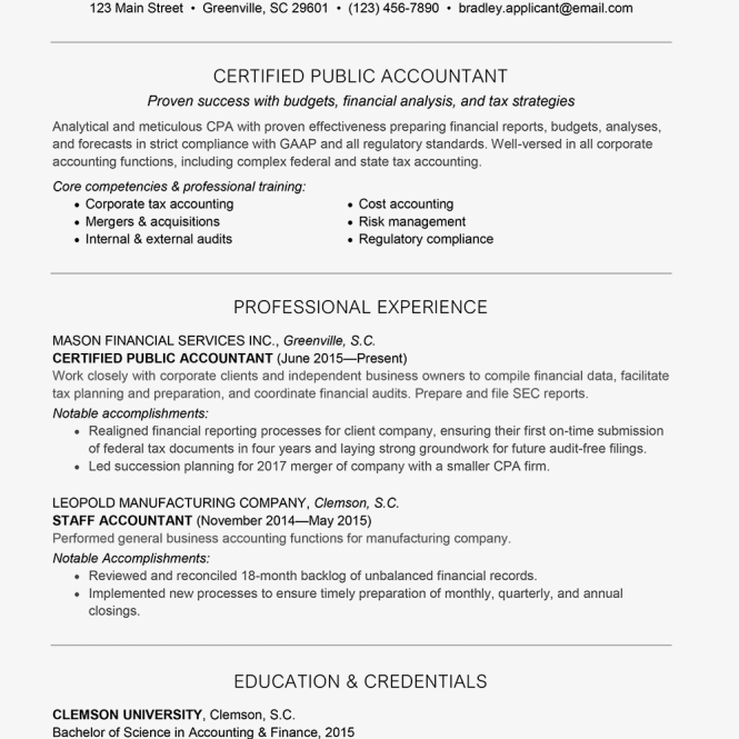 Resume Examples For Accounting Jobs - Resume Sample