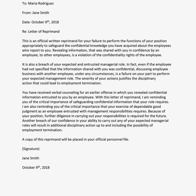 Letters Of Reprimand For Employee