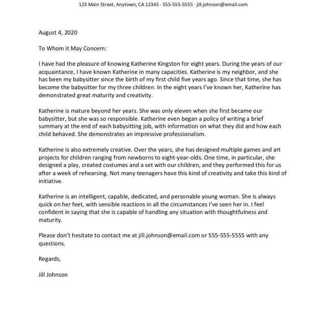 Character Reference Letter Sample