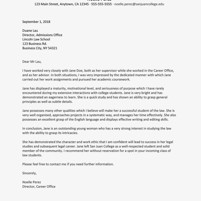 Reference Letter Sample for Law School