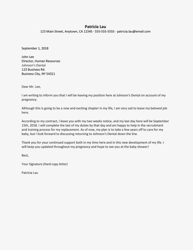 Resignation letter for nurses due to pregnancy cekharga write a resignation letter due to pregnancy expocarfo Gallery