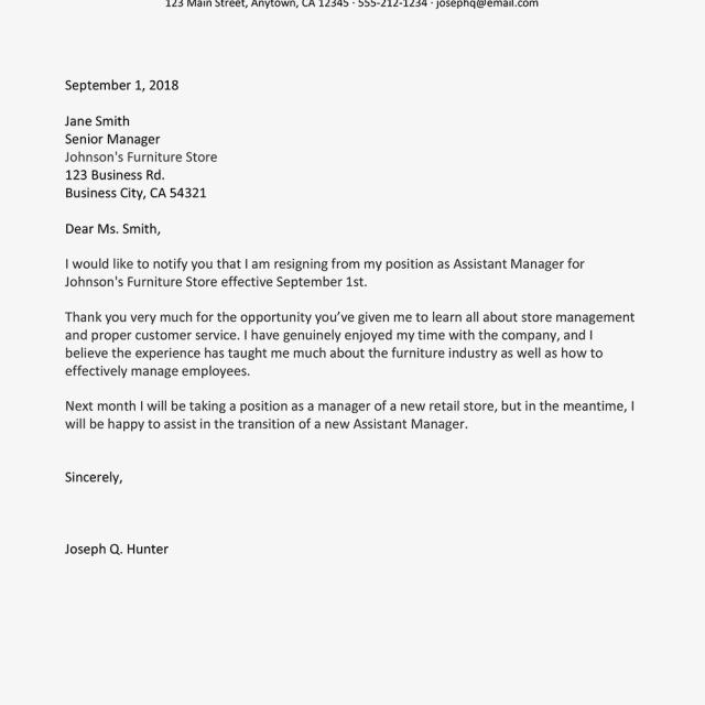 Write Letter Of Resignation Bodum
