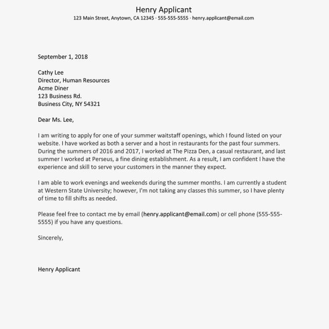Summer Job Cover Letter Examples