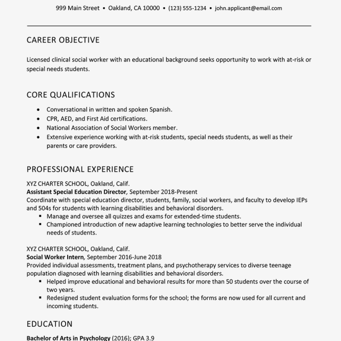 Social Worker Resume Example And