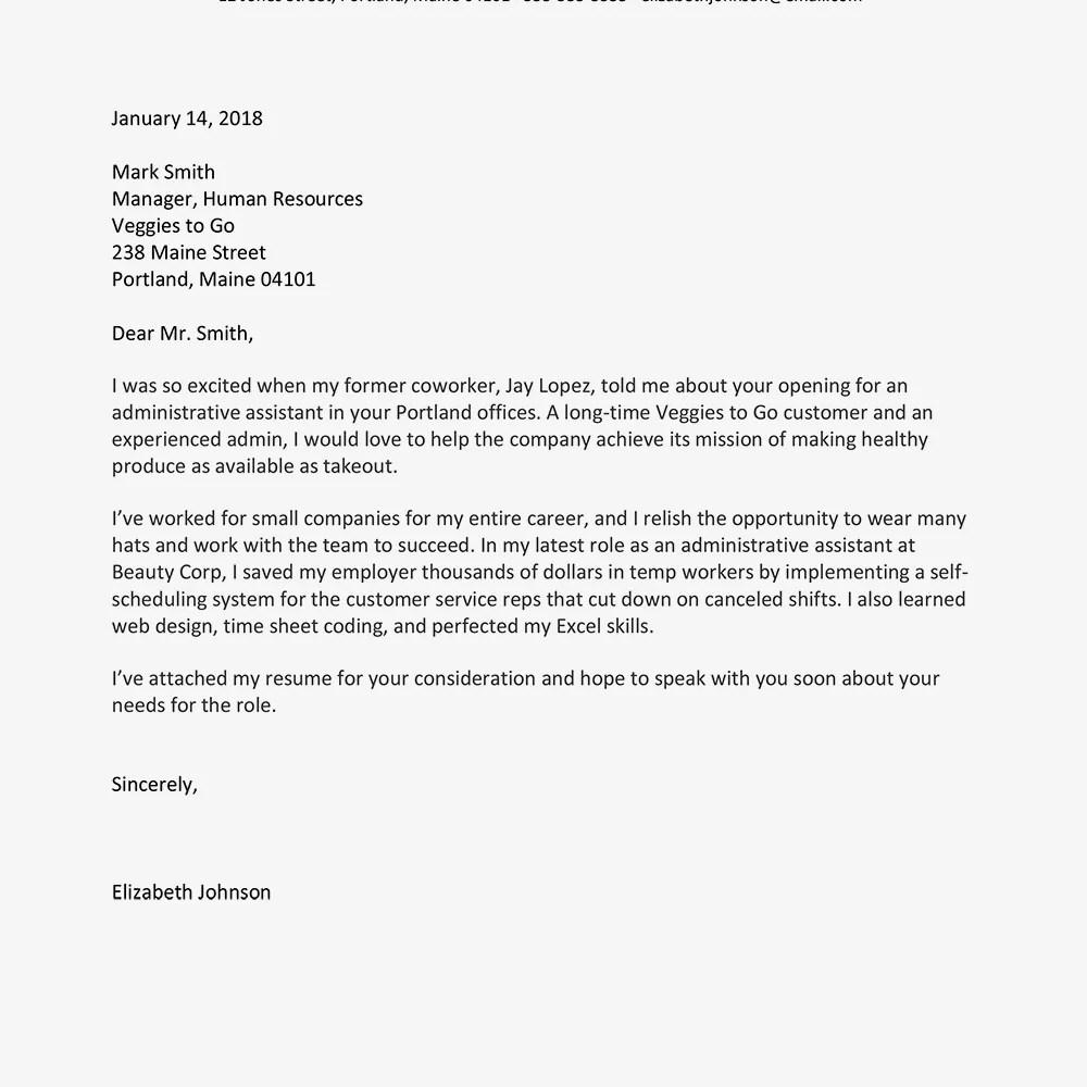 Screenshot of a sample job application letter