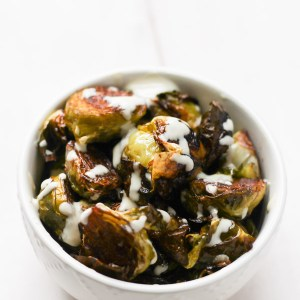 Maple Balsamic Brussels Sprouts + Lemon Tahini Drizzle