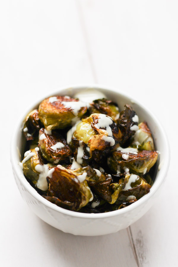 Maple Balsamic Brussels Sprouts with Lemon Tahini via thebalancedberry.com