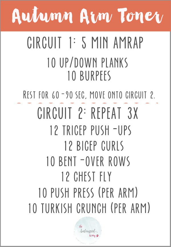 Autumn Arm Toner - a fast, effective workout to tone your upper body.