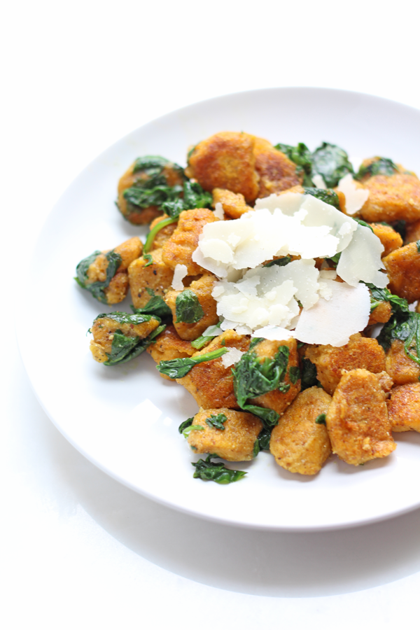 EASY pumpkin gnocci that happens to be gluten free, vegan and has a paleo-friendly option.