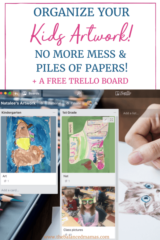 Are you drowning in artwork? Kids want to keep every piece of art they create and it can be messy. No one wants to keep cleaning up the same thing all the time! Learn how to organize kids artwork with Trello. There is no need to keep all of that artwork laying around! With my kids artwork storage solution you won't go back to any other way. Make saving kids artwork so much easier! Take a look at my Trello inspiration and grab my free Trello templates.