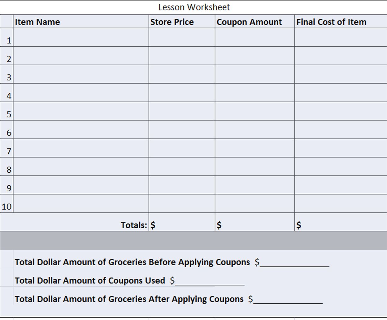Coupon Math Worksheets Coupon