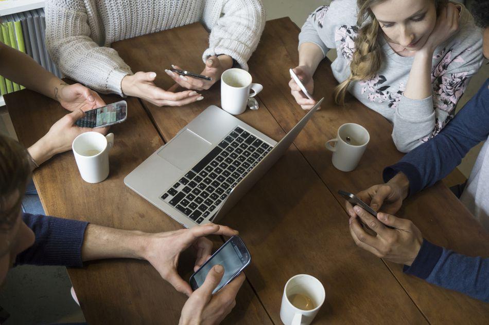 Small business managing social media accounts
