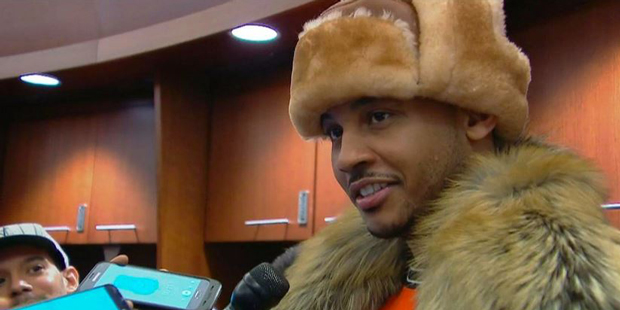 knicks melo hat fur