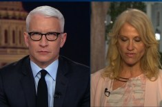 Anderson Cooper Pleasures Self During Kellyanne Conway Interview