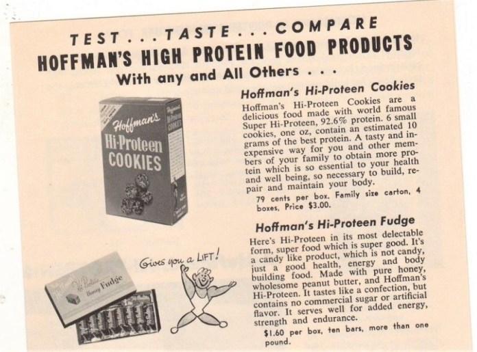 ad for hi-proteen cookies and hi-proteen fudge