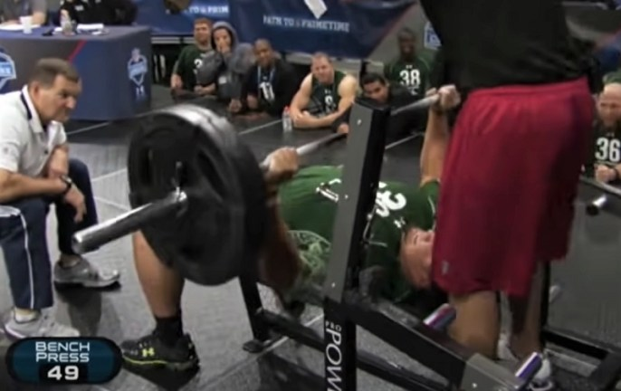 Stephen Paea 49 reps bench press