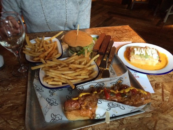 Food at The Boozy Cow is hot dog and burger-based