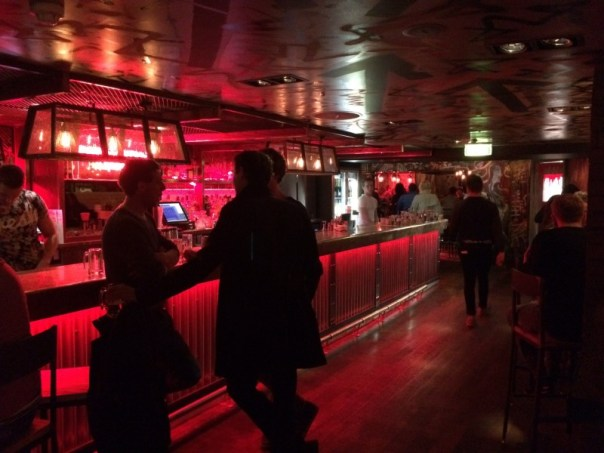 The bar at The Boozy Cow has an underground American feel to it