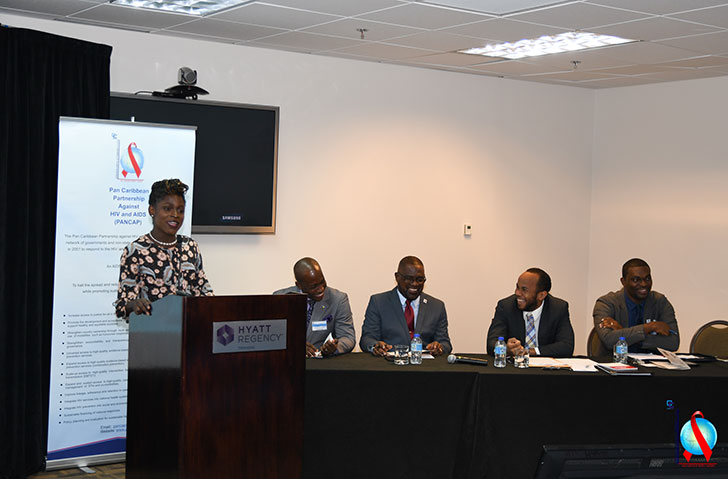 Ms. Raymoniya Lawrence, a representative of The Caribbean Forum for Liberation and Acceptance of Genders and Sexualities (CariFLAGS) during her address.