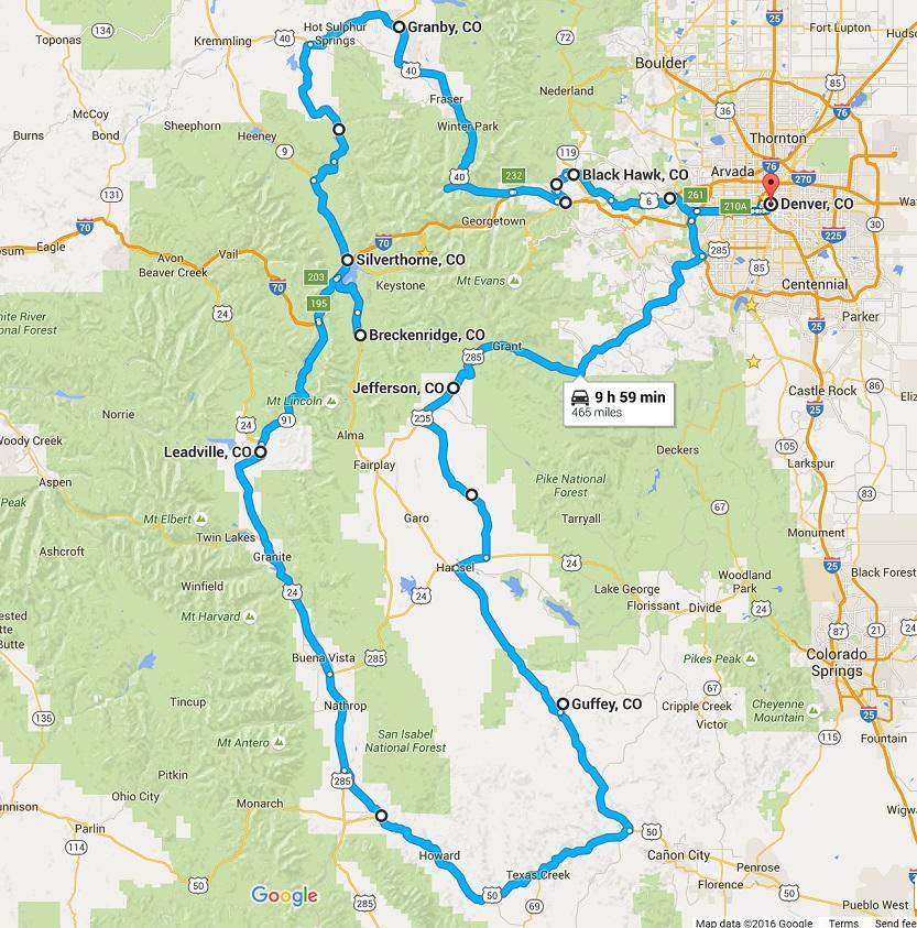 Google Maps view of Bayard's Colorado: A Summer Trip