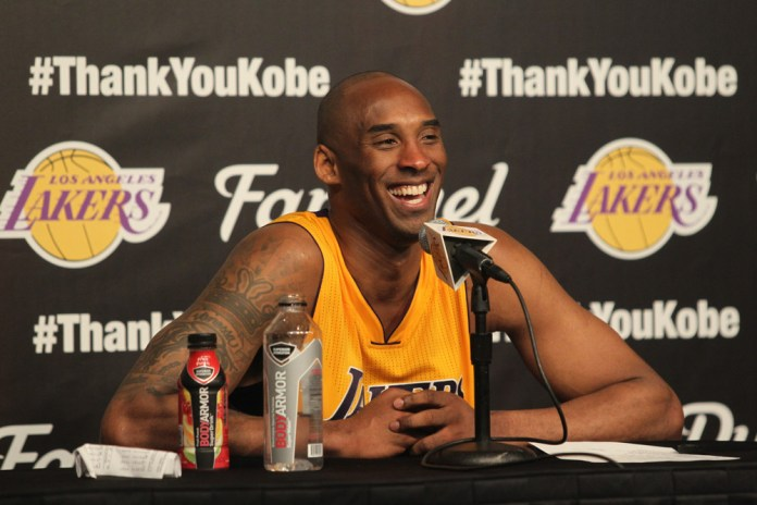 Wednesday April 13, 2016; Kobe Bryant #24 of the Lakers before and after the Lakers game. The Los Angeles Lakers defeated the Utah Jazz by the final score of 101-96 in Lakers Kobe Bryant's last NBA game at Staples Center in downtown Los Angeles, CA. (Photo by Icon Sportswire)