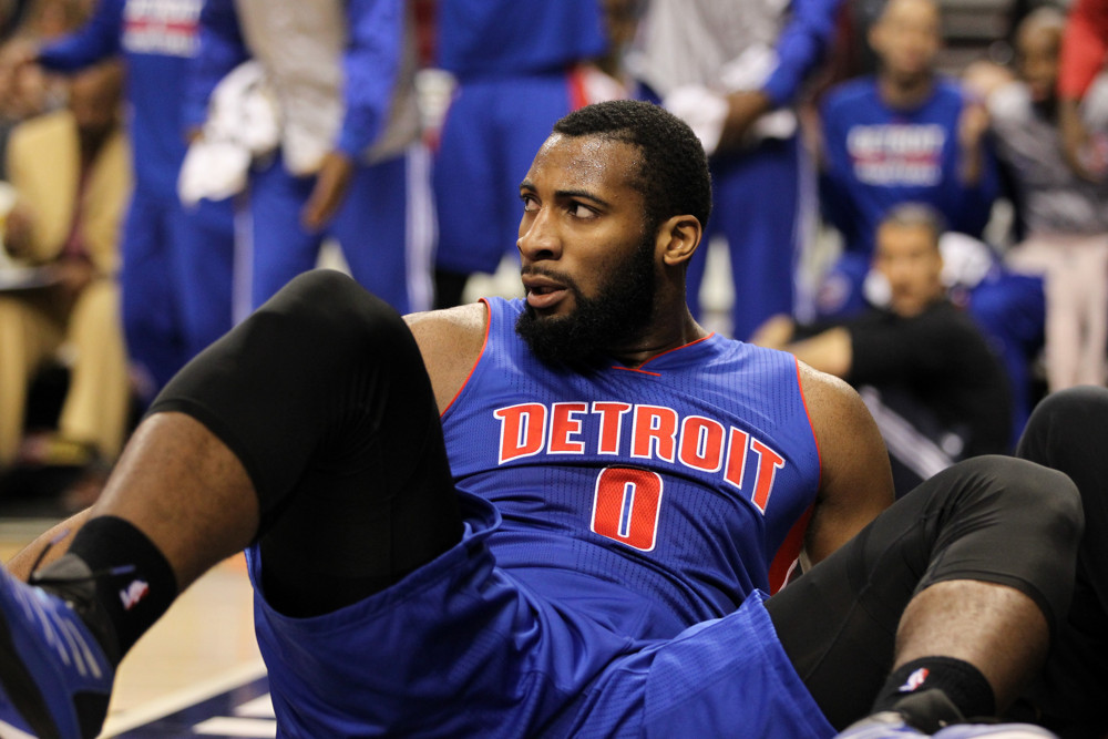 March 13, 2015 - Andre Drummond (0) looks on after falling onto the floor. The Portland Trail Blazers play the Detroit Pistons at the Moda Center on March 13, 2015 (David Blair/Zuma Press/Icon Sportswire)