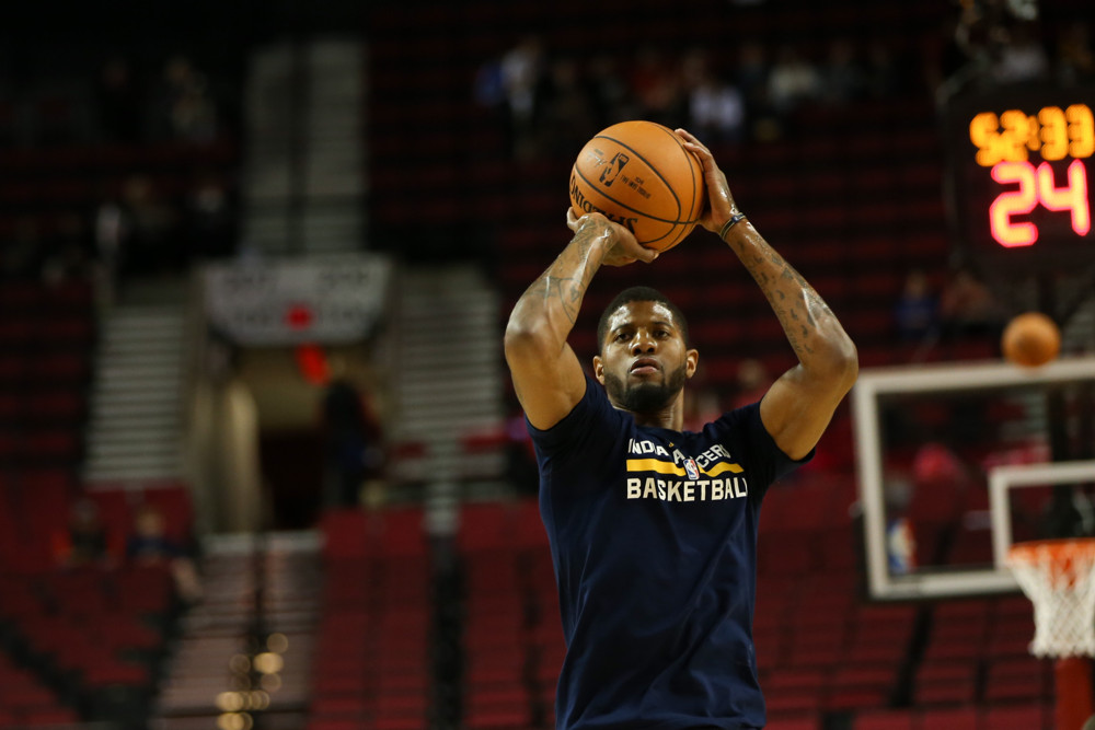 Dec. 3, 2015 - Paul George (13) warms up as the Portland Trail Blazers play host to the Indiana Pacers at the Moda Center. (Photo by David Blair/Zuma Press/Icon Sportswire)