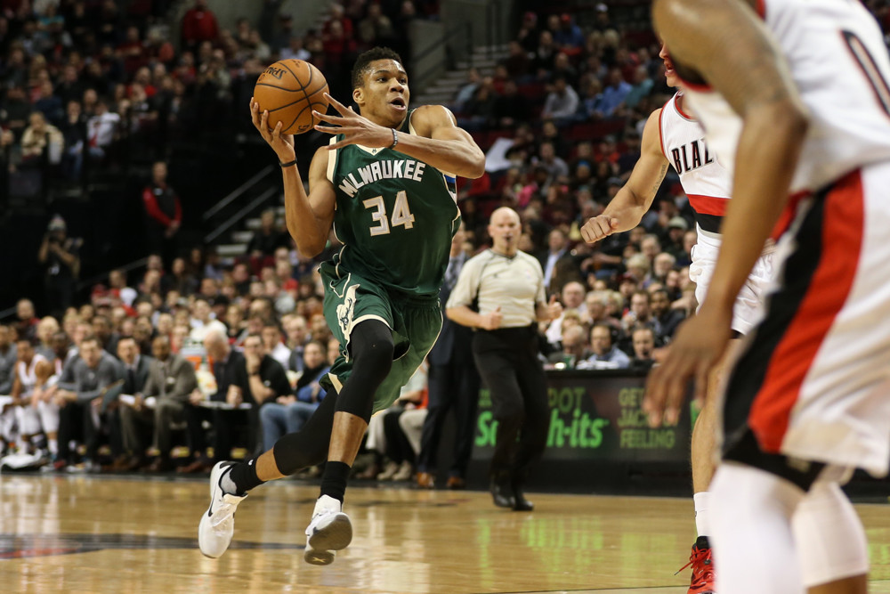 Feb. 2, 2016 - GIANNIS ANTETOKOUNMPO (34) drives to the hoop. Portland Trail Blazers hosted the Milwaukee Bucks at the Moda Center on February 2, 2016. (Photo by David Blair/Zuma Press/Icon Sportswire)