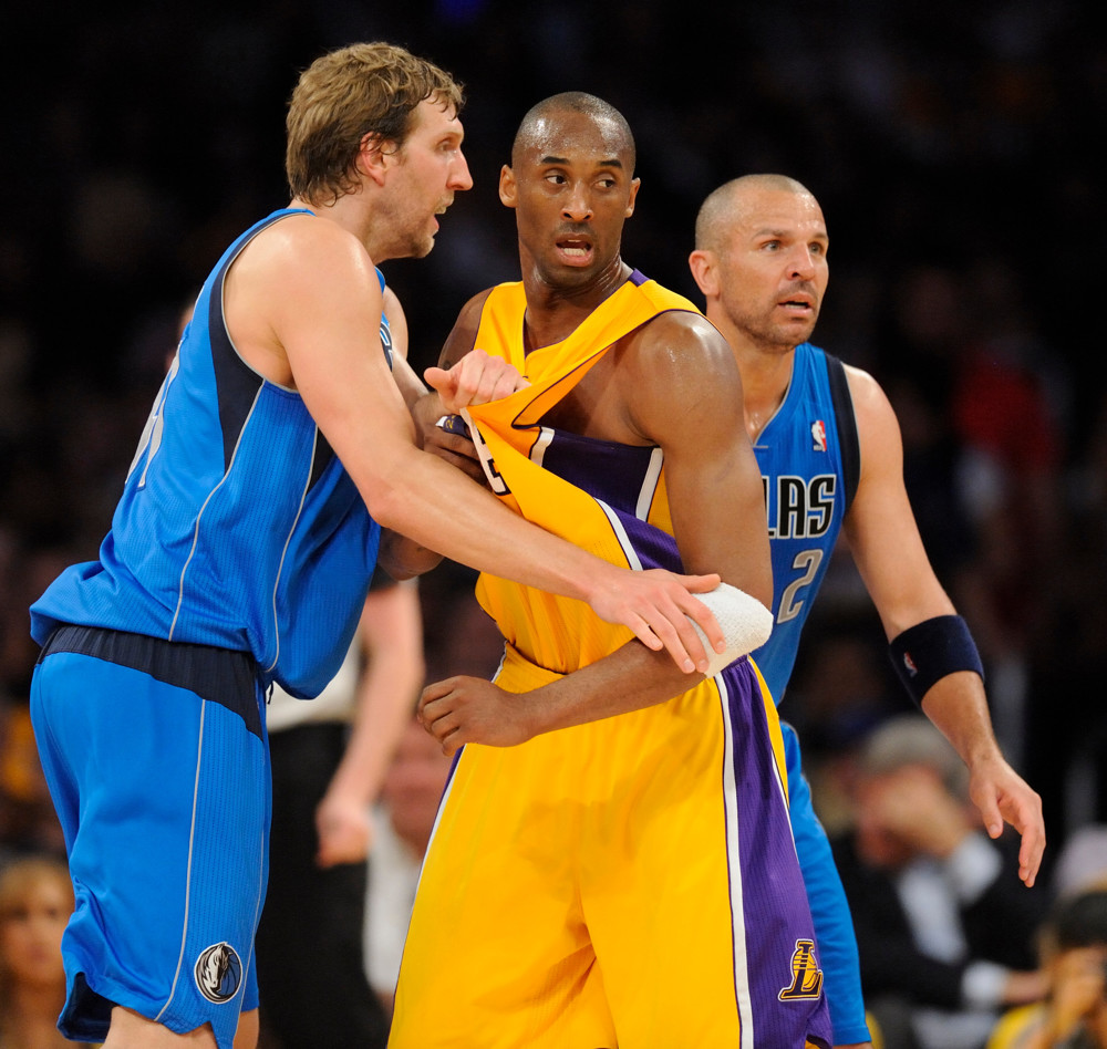 March 31, 2011: Los Angeles Lakers Kobe Bryant screens Dallas Mavericks Dirk Nowitzki during a game against the Dallas Mavericks during a game 110-82 decision Thursday at Staples Center in Los Angeles, CA. (Matt A. Brown/Icon Sportswire)