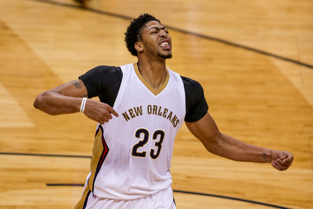 November 20, 2015: New Orleans Pelicans forward Anthony Davis (23) shows emotion during the game between San Antonio Spurs and New Orleans Pelicans at the Smoothie King Center in New Orleans, LA. New Orleans Pelicans defeat San Antonio Spurs 104-90. (Photograph by Stephen Lew/Icon Sportswire)