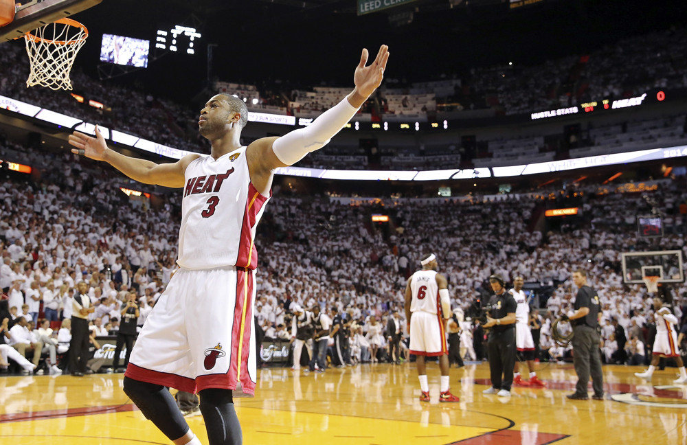 June 10, 2014 - Miami, FLORIDA, USA - Miami Heat's Dwyane Wade reacts before Game 3 of the NBA Finals against the San Antonio Spurs Tuesday June 10, 2014 at American Airlines Arena in Miami, Fla. (San Antonio Express-News/Zumapress/Icon Sportswire)